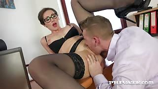 MILF gets cum on her glasses