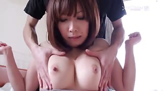 Asian Girl With Huge Tits Has Them Pushed Together And Sucks Dick