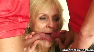 Granny Enjoys The Two Dicks